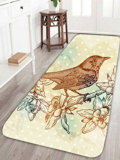 Bird Floral Polka Dot Skidproof Rug - W24 Inch * L71 Inch