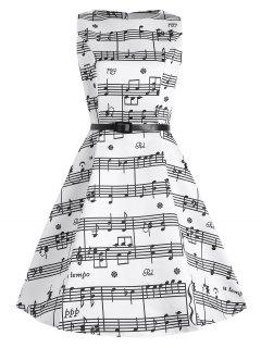 Plus Size Music Pattern 1950s Dress - White Xl