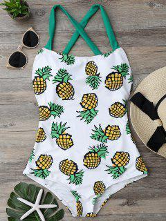 Ananas Print Cross Back Badeanzug - L