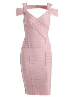 Sweetheart Neck Cut Out Bandage Dress - Pink M
