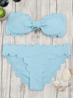 Padded Scalloped Bandeau Bikini Set - Light Blue L