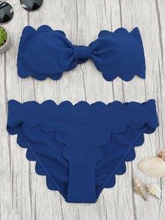 Padded Scalloped Bandeau Bikini Set - Deep Blue L