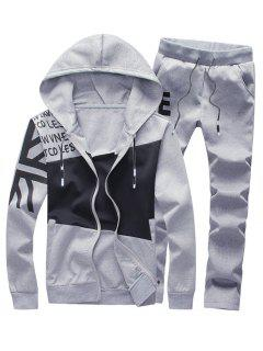 Color Block Panel Graphic Print Hoodie And Pants Twinset - Gray 2xl