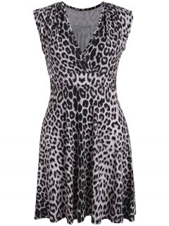 Plus Size Leopard Print Surplice Dress - Black Leopard Print 3xl