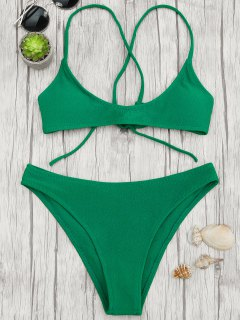 High Cut Bralette Scoop Bikini Set - Green M