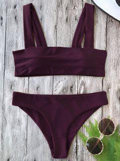 GepolsterterBreiter Riemen Bandeau Bikini Set - Merlot L