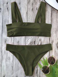 Padded Wide Straps Bandeau Bikini Set - Army Green M