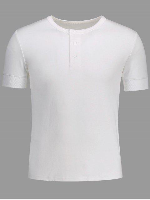 shop Crewneck Short Sleeve Henley Mens Top - WHITE L Mobile