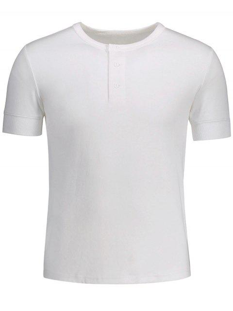 latest Crewneck Short Sleeve Henley Mens Top - WHITE M Mobile