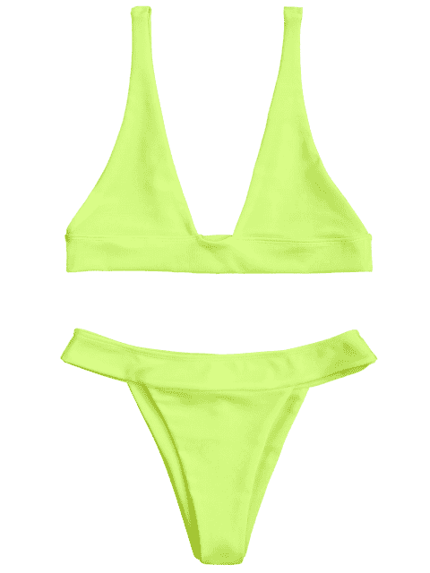 affordable Plunge Bikini Top and High Cut Bottoms - NEON YELLOW S Mobile