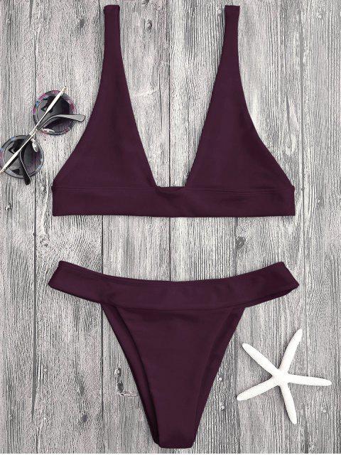 buy Plunge Bikini Top and High Cut Bottoms - MERLOT L Mobile