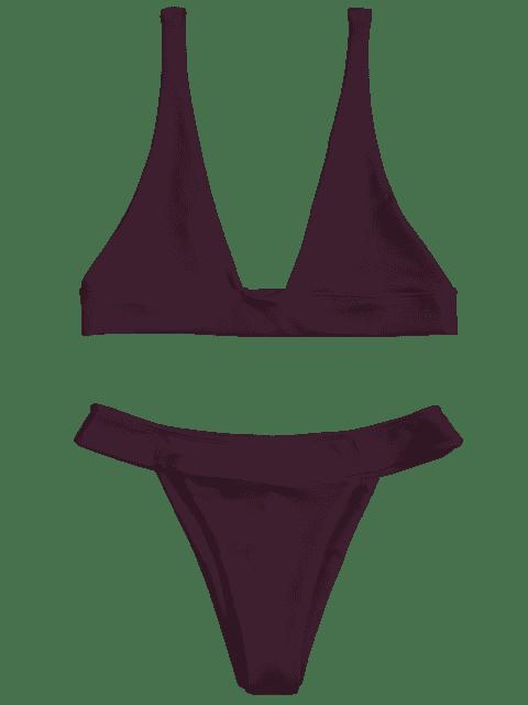 women Plunge Bikini Top and High Cut Bottoms - MERLOT S Mobile