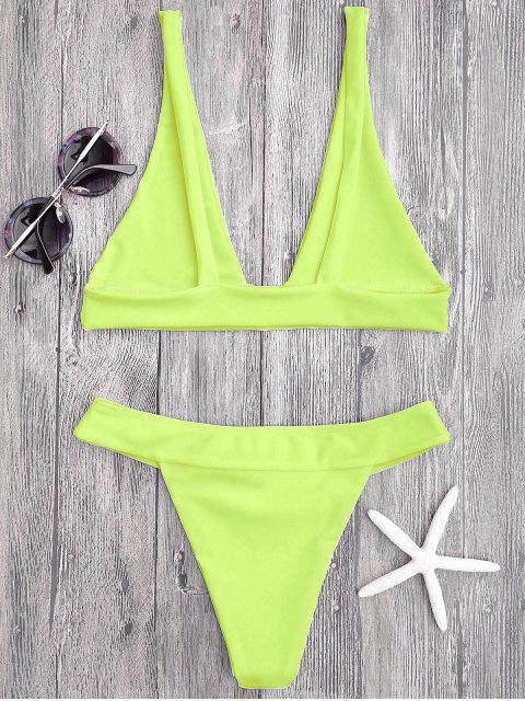 Plinthe Bikini Top et High Cut Bottoms - Néon Jaune L Mobile
