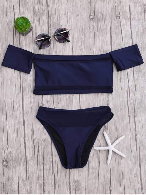 outfit Mesh High Cut Off The Shoulder Bikini Set - BLUE L Mobile