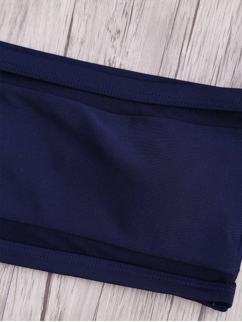 outfits Mesh High Cut Off The Shoulder Bikini Set - BLUE M Mobile