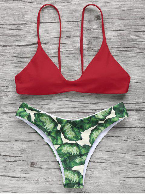 sale Spaghetti Straps Palm Tree Bikini - RED M Mobile