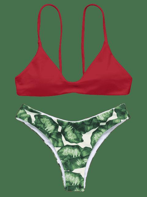 affordable Spaghetti Straps Palm Tree Bikini - RED S Mobile