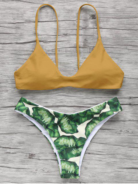 Bikini à bretelle spaghettis imprimé palmier - Curcumae S Mobile