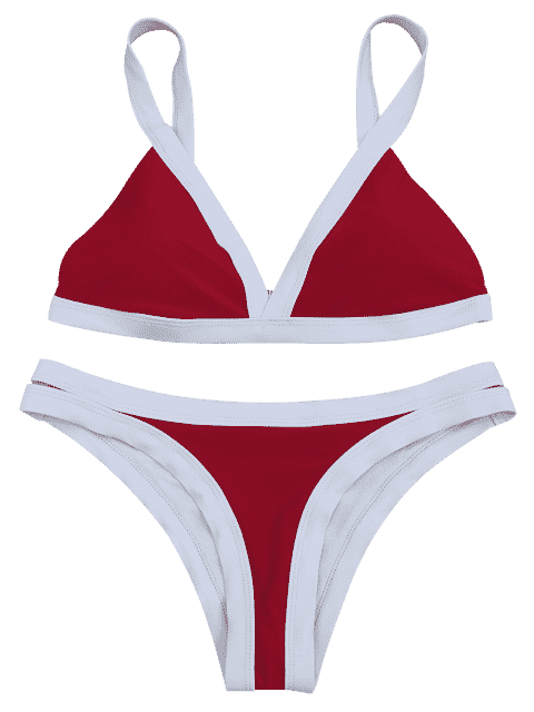 ladies Two Tone Padded Swimsuit - RED M Mobile