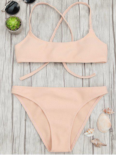 fashion Textured Scoop Bralette Bikini Set - APRICOT M Mobile
