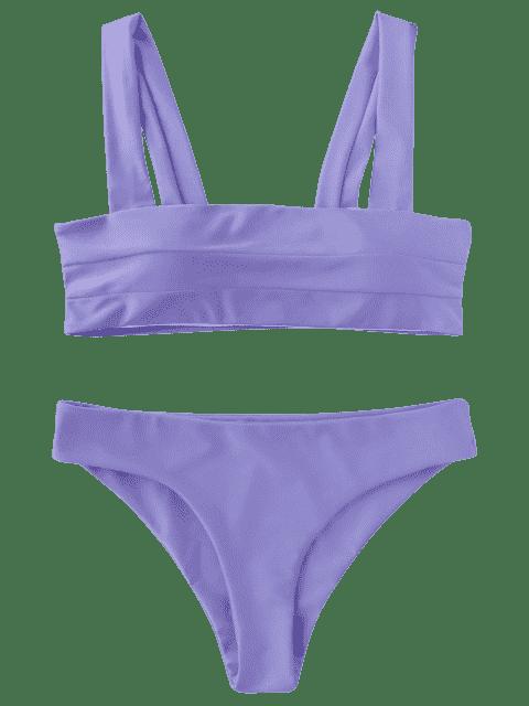 buy Padded Wide Straps Bandeau Bikini Set - PURPLE M Mobile