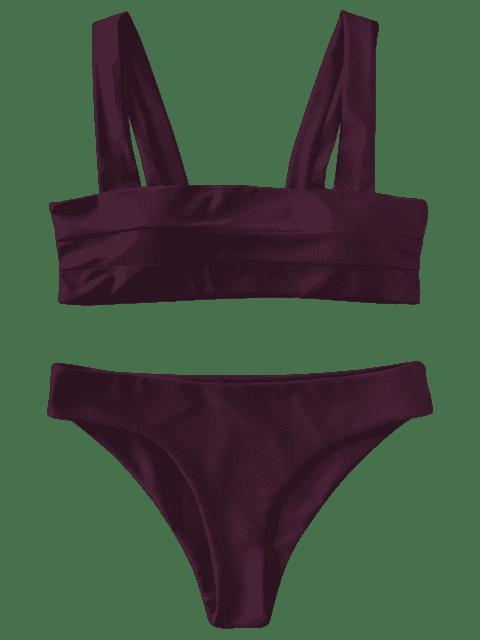 women Padded Wide Straps Bandeau Bikini Set - MERLOT L Mobile