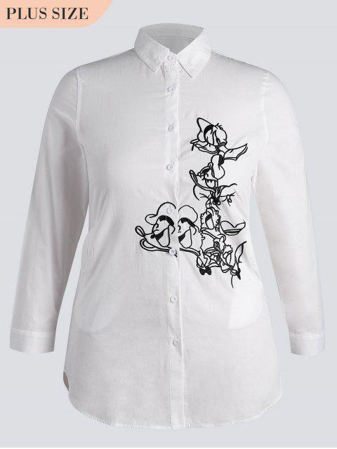 online Button Down Embroidered Plus Size Shirt - WHITE 4XL Mobile