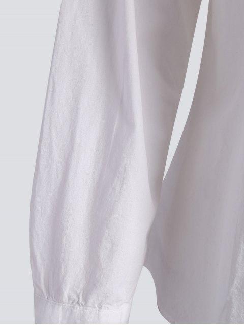 Chemise Brodée Floral Taille Plus - Blanc 5XL Mobile