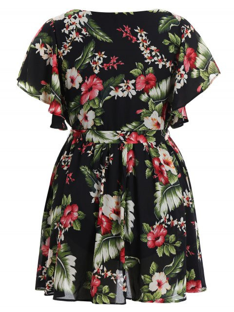 fashion Plus Size Belted Floral Mini Dress - FLORAL XL Mobile