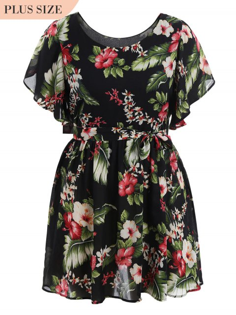 buy Plus Size Belted Floral Mini Dress - FLORAL 4XL Mobile