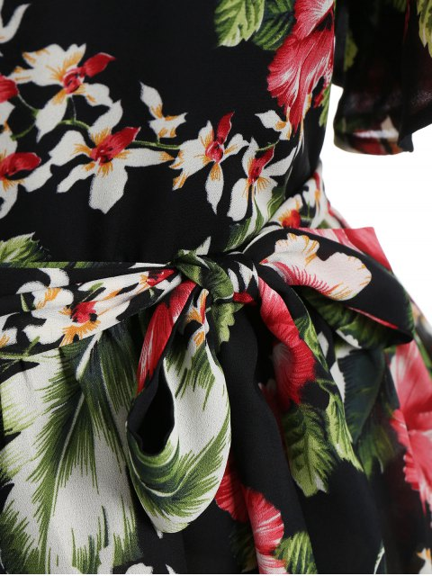 women Plus Size Belted Floral Mini Dress - FLORAL 5XL Mobile