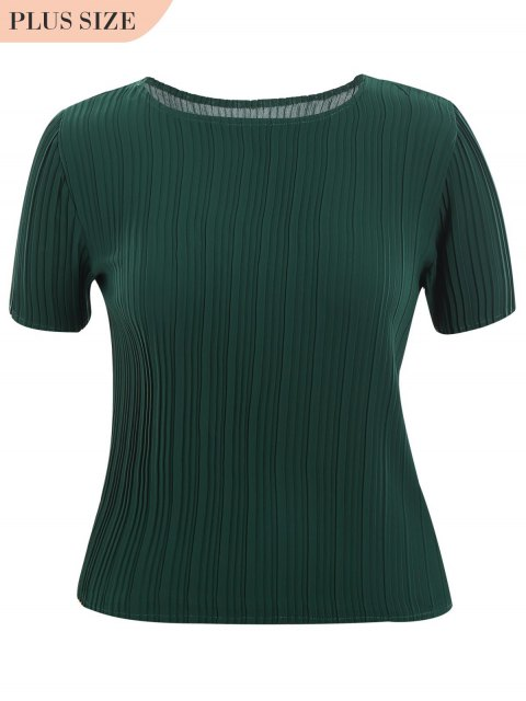 women's Plus Size Pleated Top - DEEP GREEN XL Mobile