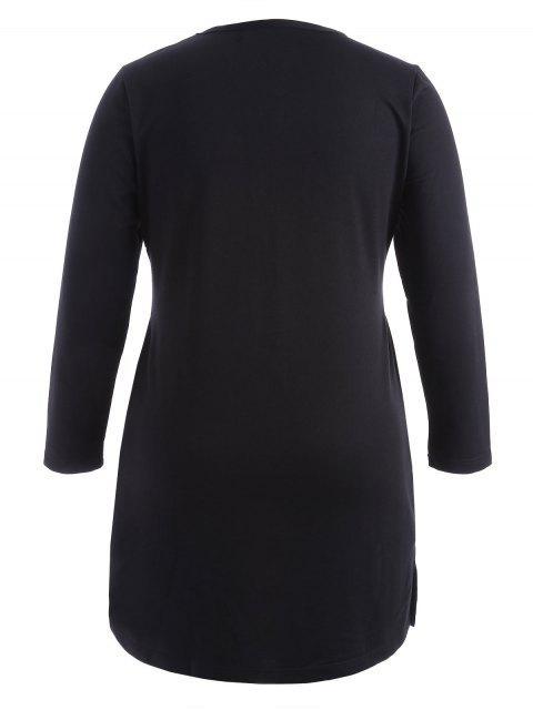Plus Size Letter Casual Dress - Noir 2XL Mobile