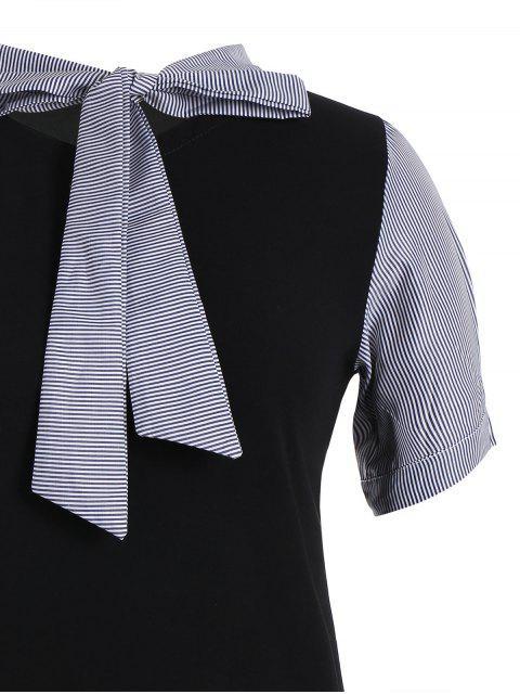 Robe rayée à manches courtes taille grande - Noir 4XL Mobile
