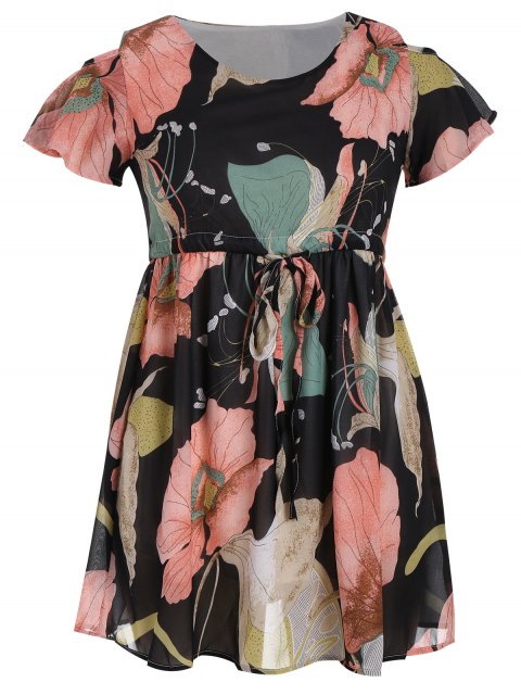 unique Plus Size Cold Shoulder Drawstring Floral Dress - FLORAL 4XL Mobile