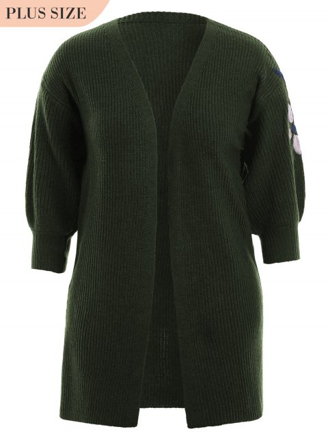 shop Plus Size Open Front Embroidered Cardigan - ARMY GREEN ONE SIZE Mobile