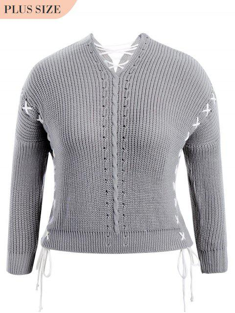 latest Plus Size Lace Up Chunky Sweater - GRAY ONE SIZE Mobile