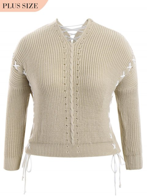 fancy Plus Size Lace Up Chunky Sweater - LIGHT KHAKI ONE SIZE Mobile