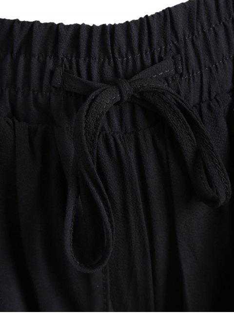 lady Plus Size Drawstring Wide Legged Shorts - BLACK 3XL Mobile