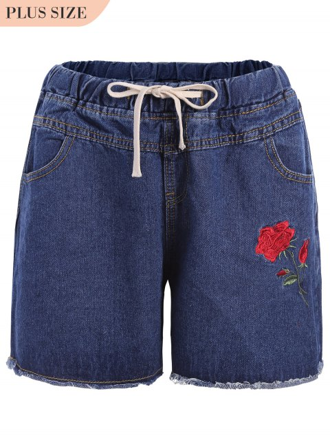 sale Plus Size Floral Embroidered Jean Shorts - DENIM BLUE 4XL Mobile