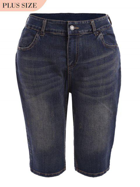 affordable Plus Size Ripped Fifth Jeans - DENIM BLUE 5XL Mobile