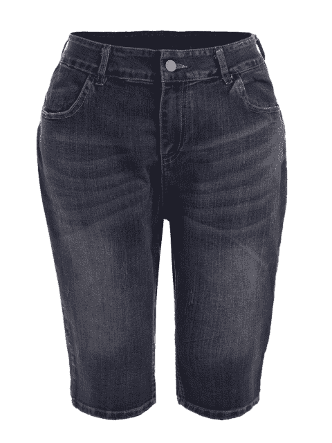 womens Plus Size Ripped Fifth Jeans - DENIM BLUE 3XL Mobile