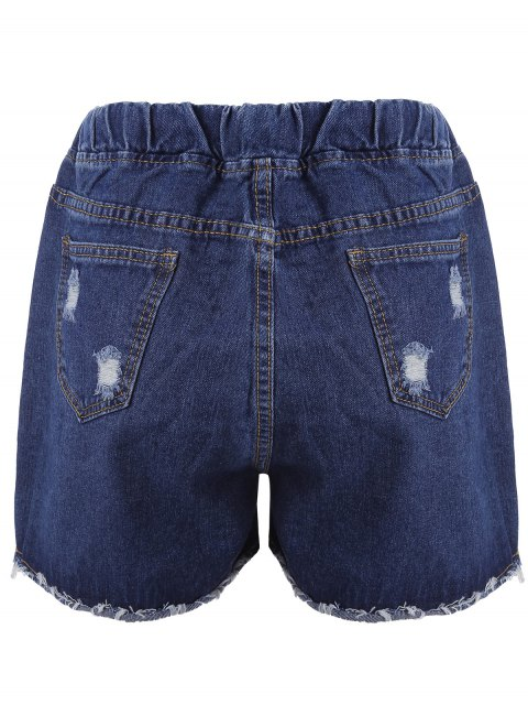 buy Plus Size Floral Embroidered Jean Shorts - DENIM BLUE 2XL Mobile