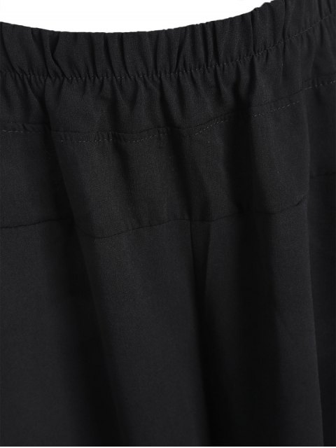 shops Capri Plus Size Wide Leg Pants - BLACK 5XL Mobile