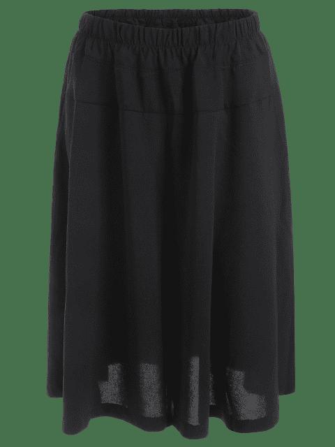 fashion Capri Plus Size Wide Leg Pants - BLACK 4XL Mobile