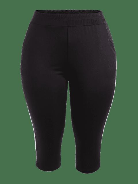 outfits Sports Plus Size Stripes Panel Pants - BLACK 3XL Mobile