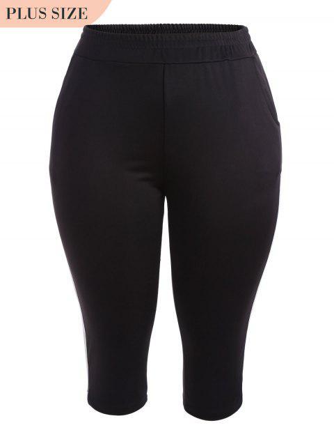 Sports Plus Size Stripes Pantalon - Noir 3XL Mobile