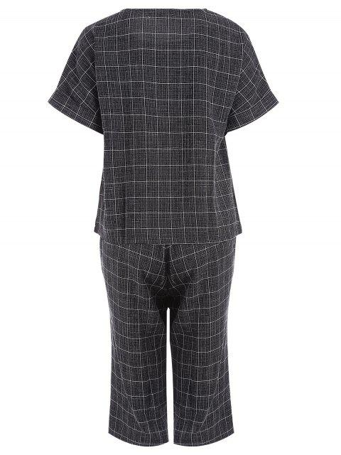 fashion Plus Size Checked Top and Capri Straight Pant Suit - BLACK 4XL Mobile