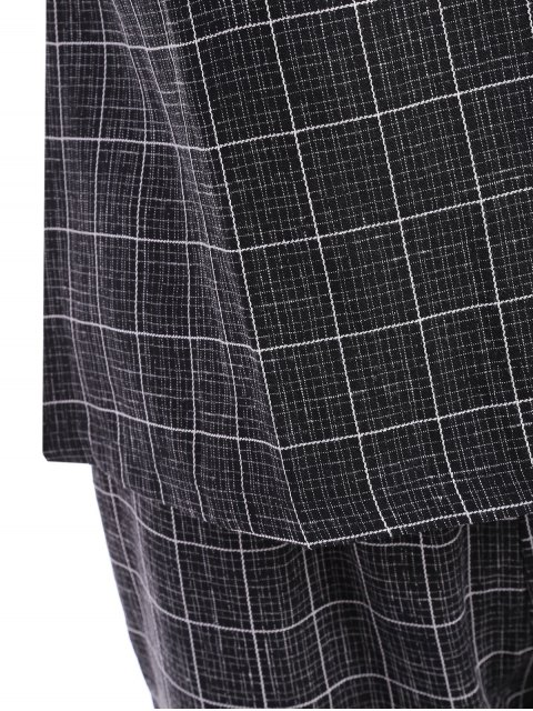 chic Plus Size Checked Top and Capri Straight Pant Suit - BLACK 2XL Mobile
