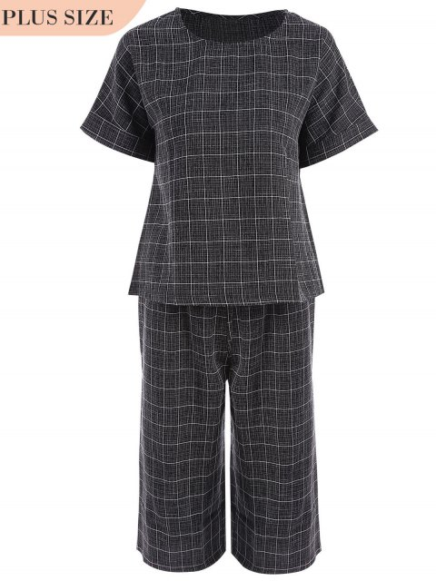 Plus Size Checked Top et Capri Straight Pant Suit - Noir 3XL Mobile